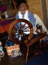 spinning wheel being used