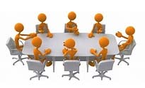 figures sitting at a board meeting table