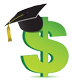 graphic of dollar sign wearing a graduation cap